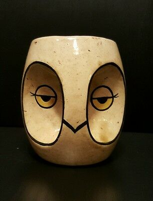 Handmade Owl Coffee Mug Unique Art Collectable. Ceramic 4in. Tall. One of a kind