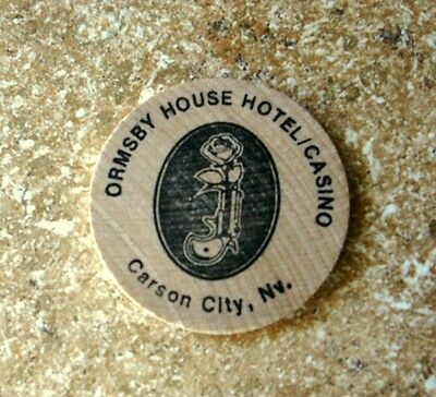 ORMSBY HOUSE Hotel/Casino, Carson City Nevada WOODEN NICKEL One Free Drink