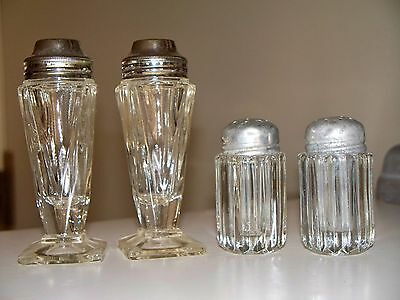 2 Depression Glass SALT PEPPER Shaker Sets 1930's QUEEN MARY & 1 MORE Antique