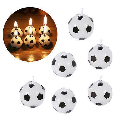 6pcs Soccer Football Candles Ball Shaped Cake Topper Birthday Party Decoration T