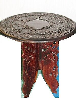 """Antique Wood Hand-carved 2 Piece Accent Table Plant Stand India 18"""" Tripod Legs"""