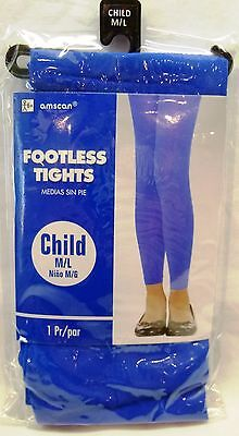 Child-Kids Footless Tights-Size Medium/large-Blue-New In Package-Dance-Costume