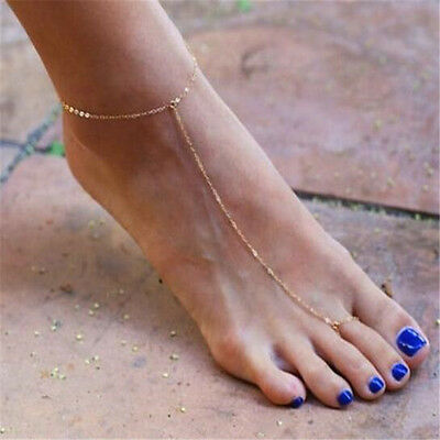 Women Golden Plated Ring Ankle Chain Anklet Bracelet Foot 2in1 Jewelry