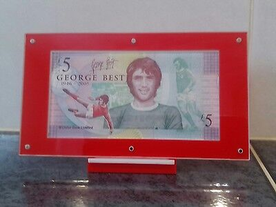 George best 5pound note in perfect uncirculated condition set in Perspex display