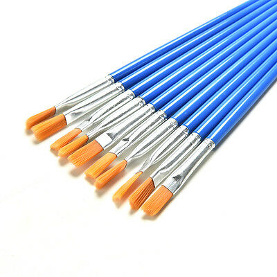 10 Set Paint Brush Set New Nylon Blue Brush Kid Watercolor Drawing Painting SEAU
