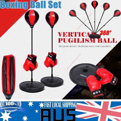Gloves Pump Set Speed Ball Kids Play Punching Boxing Training Stand Bag Kit