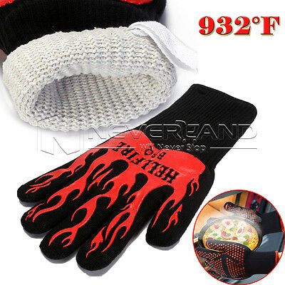 2X BBQ 932°F Heat Resistant Proof Mitts Oven Glove Cooking Kitchen Grill Mitten