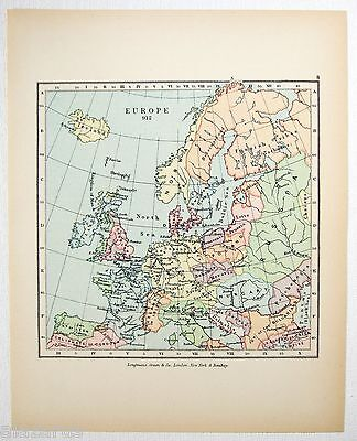 Vintage Longmans Map of Europe in the Year 912