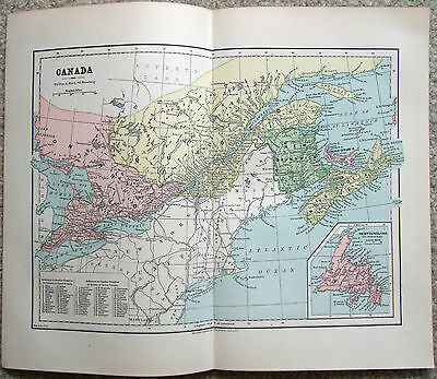 Original 1882 Map of Eastern Canada by Phillips & Hunt