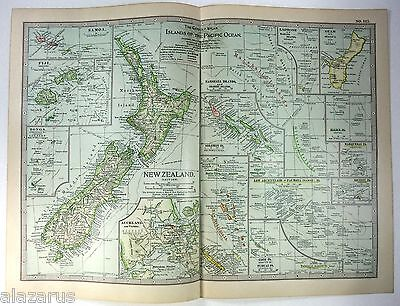 Original 1902 Map of Islands of The Pacific Ocean - New Zealand, Samoa, Fiji