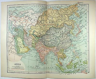 Original 1899 Map of Asia by Dodd Mead & Company