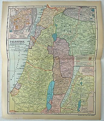 Original 1903 Map of Palestine by Dodd Mead & Company