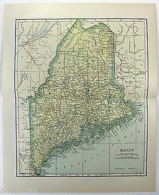 Original 1914 Map of Maine by L. L. Poates