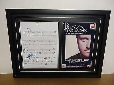 Phil Collins Genuine Hand Signed/Autographed Songsheet with a Photo and COA