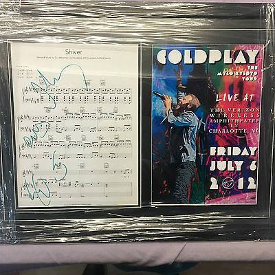 Coldplay Genuine Hand Signed/Autographed Songsheet with a Photograph and COA