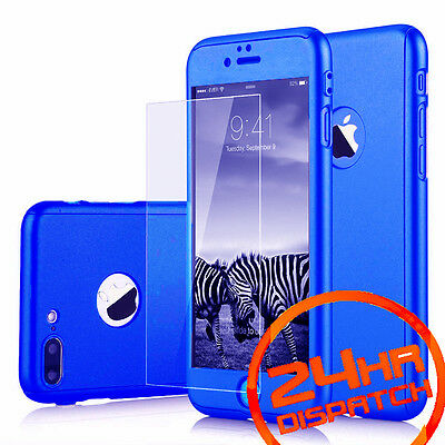 360° Body Protective Blue Back Case+Tempered Glass For iPhone 6 Plus {[ju571