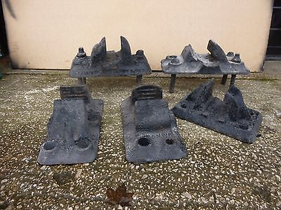 Antique Cast Iron Railway Chairs for Sleeper x 5