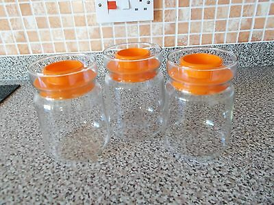 Vintage Retro JAJ Kitchen Storage Jars  with Orange Lids -  60s/70s