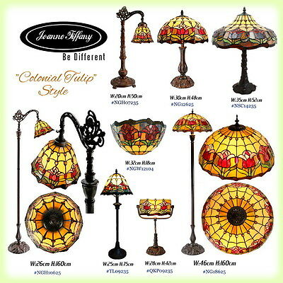 """2017 New Arrivals """"Colonial Tulip"""" Real Stained Glass Leadlight Tiffany Lamp"""