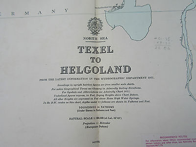 "1978 TEXEL to HELGOLAND Netherlands Germany - North Sea MAP Chart 28"" x 41"""
