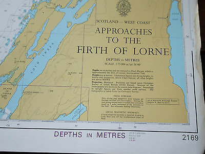 "1988 Approaches to The FORTH of LORNE Nautical SEA MAP Chart 28"" x 41"""