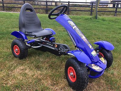 New Large - Ride Go Kart - Rubber Wheel Tyres  - Cart - Pedal - 4-9 Years - Blue