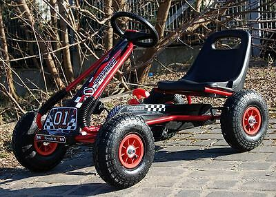 New - Ride Go Kart - Rubber Wheel Tyres  - Cart - Pedal - 3-8 Years - Red Black