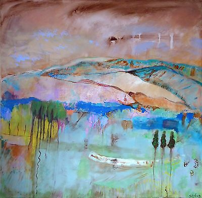 Original Large Contemporary Abstract Expressionist Landscape Painting on Canvas