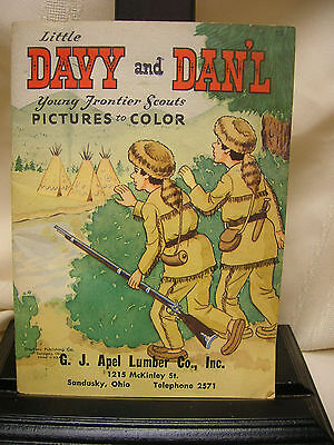 Vtg Coloring Book Young Frontier Scouts G J Apel Lumber Co Sandusky Ohio TeePee