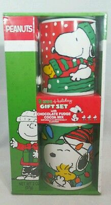 PEANUTS Snoopy Woodstock Christmas Red Green Ceramic Cocoa Cup Mug Set 2 Gift