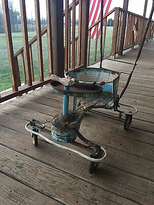 Vintage 1940-1950's Taylor Tot Blue White Metal & Wood Baby Stroller & Walker