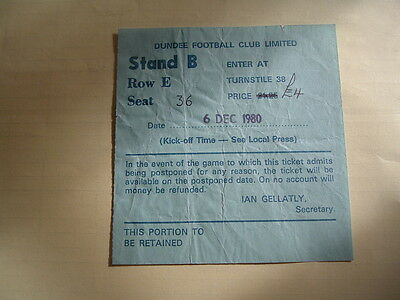 Ticket 1980 Scottish League Cup Final Dundee Utd v Dundee