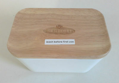 Bertolli Butter Dish With Wooden Lid - New & Unused - Free Post