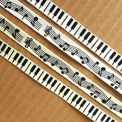 2 metres of Musical Grosgrain Ribbon 10mm wide, piano keys, notes, white / cream