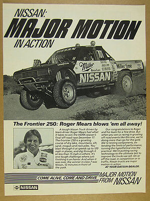 1984 Nissan Pickup Truck photo Roger Mears Frontier 250 Race Win print Ad