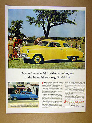 1947 Studebaker Champion Regal DeLuxe Coupe yellow car photo vintage print Ad