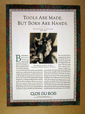 1991 Clos du Bois Wines vineyard worker hands photo story print Ad