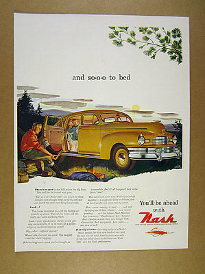 1947 Nash 600 yellow sedan father son camping art vintage print Ad