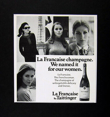 1968 pretty French Women photo Taittinger La Francaise Champagne print Ad