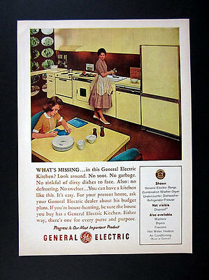 1961 Yellow Modern Kitchen Housewife & Daughter Photo GE Appliances print Ad