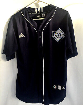 LONGORIA 3 TAMPA BAY RAYS MLB Blue Jersey  Button Front Size Large 14-16 Youth