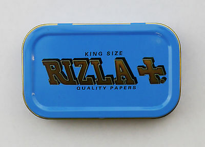 BLUE RIZLA 1oz METAL TOBACCO TIN WITH LID GIFT BOX RIZLA+ QUALITY PAPERS