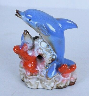 """Dolphin Statue Ceramic 2 Playful Dolphins on Coral Appx 5""""  x 3.5 x 2.5""""  #1"""