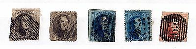 Belgium 1850/1863 King Leopold I Collection of 5 Used X5676