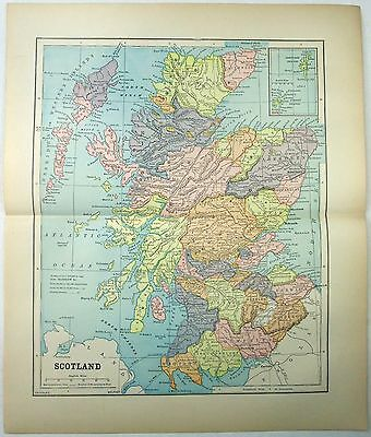 Original 1891 Map of Scotland by Fisk & See