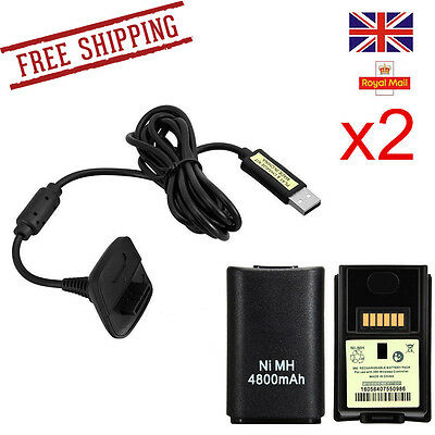 2 X 4800mAh Battery Pack + Rechargeable Charger Cable For Xbox 360 Controller