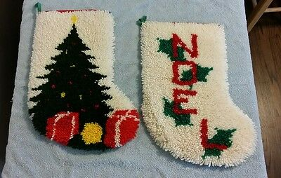 2 Handcrafted Hooked Rug/Wall Hanging Christmas Stockings 1980 Home Made Noel