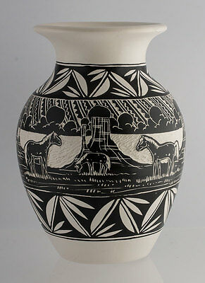 Native American Navajo Horse Etched Hand Painted Pottery Vase Signed