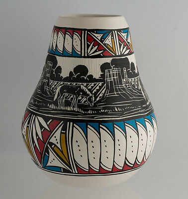 Navajo Native American Hand Etched Painted Horse Pottery Vase Signed