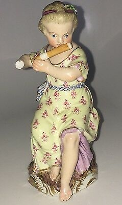 Antique Meissen Figure Of A Girl With A Flute A /f